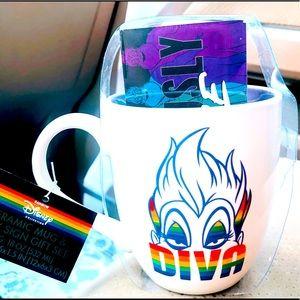 """Disney ceramic mug/sign gift set Ursula """"DIVA"""" NIP"""